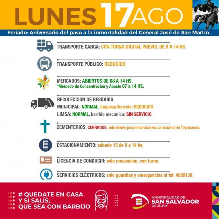 Cómo serán los servicios durante el feriado del 17 de agosto en la capital de Jujuy