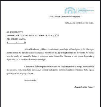 Renunció el diputado Juan Emilio Ameri